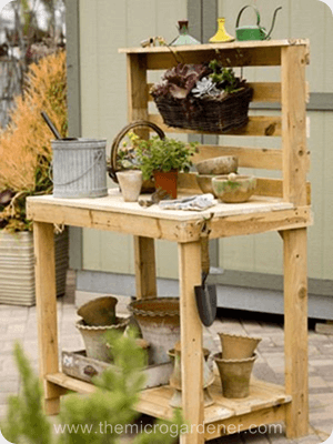 Unpainted repurposed pallet potting bench