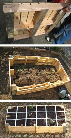 Upcycle pallets into a low cost raised garden bed.