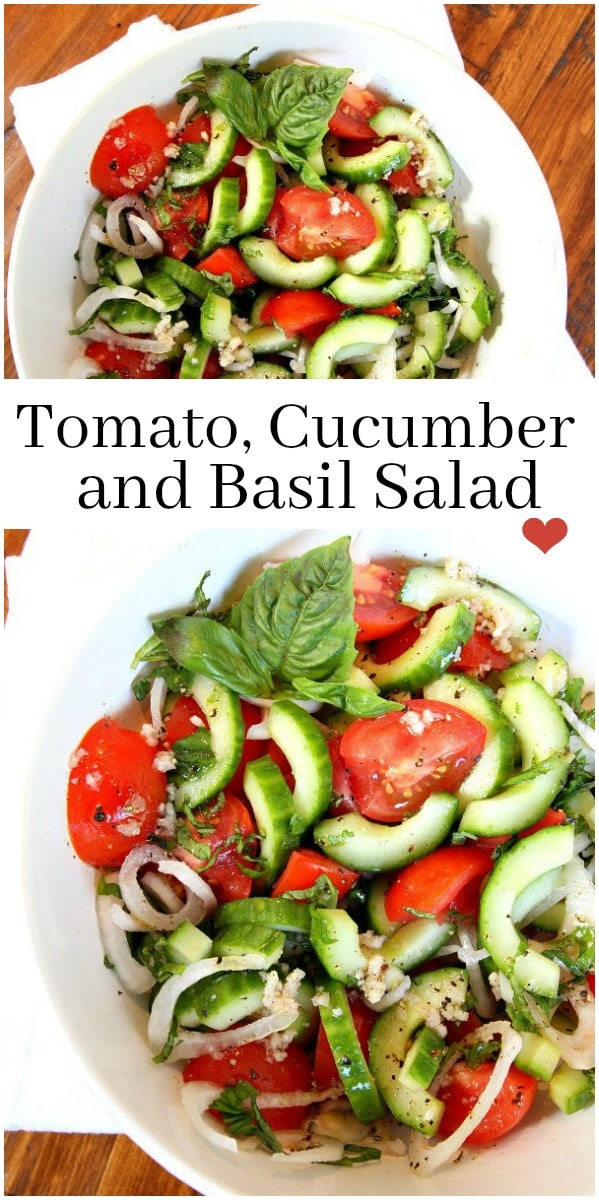 Pinterest collage image for tomato cucumber and basil salad